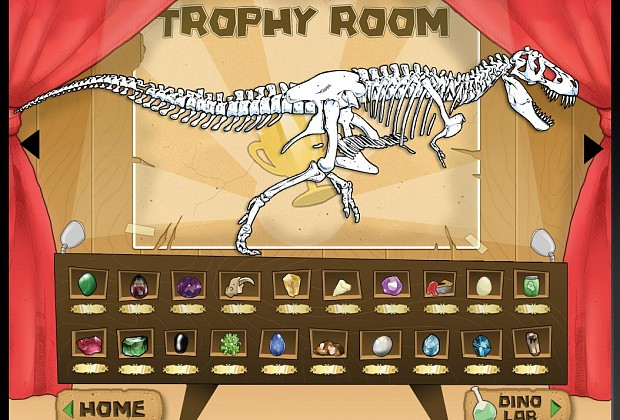 This is the trophy room screen from Daily Dig. In this room, kids can show off the dino skeletons theyve assembled as well as the gems and other artifacts theyve located throughout their time playing the game.