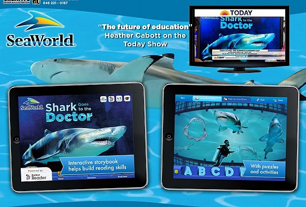 This educational app was a joy to work on. I designed the title page and logo. I also designed the sticker page game on the right. I only with the sharks on the background could have been animated!