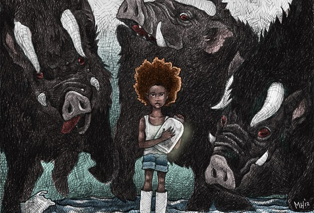 My rendition of the character Hushpuppy from the movie The Beasts of the Southern Wild. Ball point pen on Bristol, scanned and colored in Photoshop.